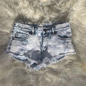 Bullhead High Rise Acid Wash Shorts